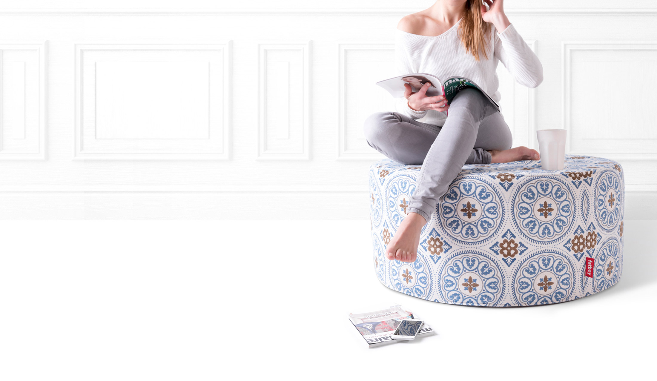 Awesome Pfffh A Large Round Pouf Suitable For Indoor And Outdoor Machost Co Dining Chair Design Ideas Machostcouk